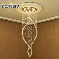 Moderno lustre de cristal longo sala estar villa hotel criativo rotação escada para casa iluminação e decoração