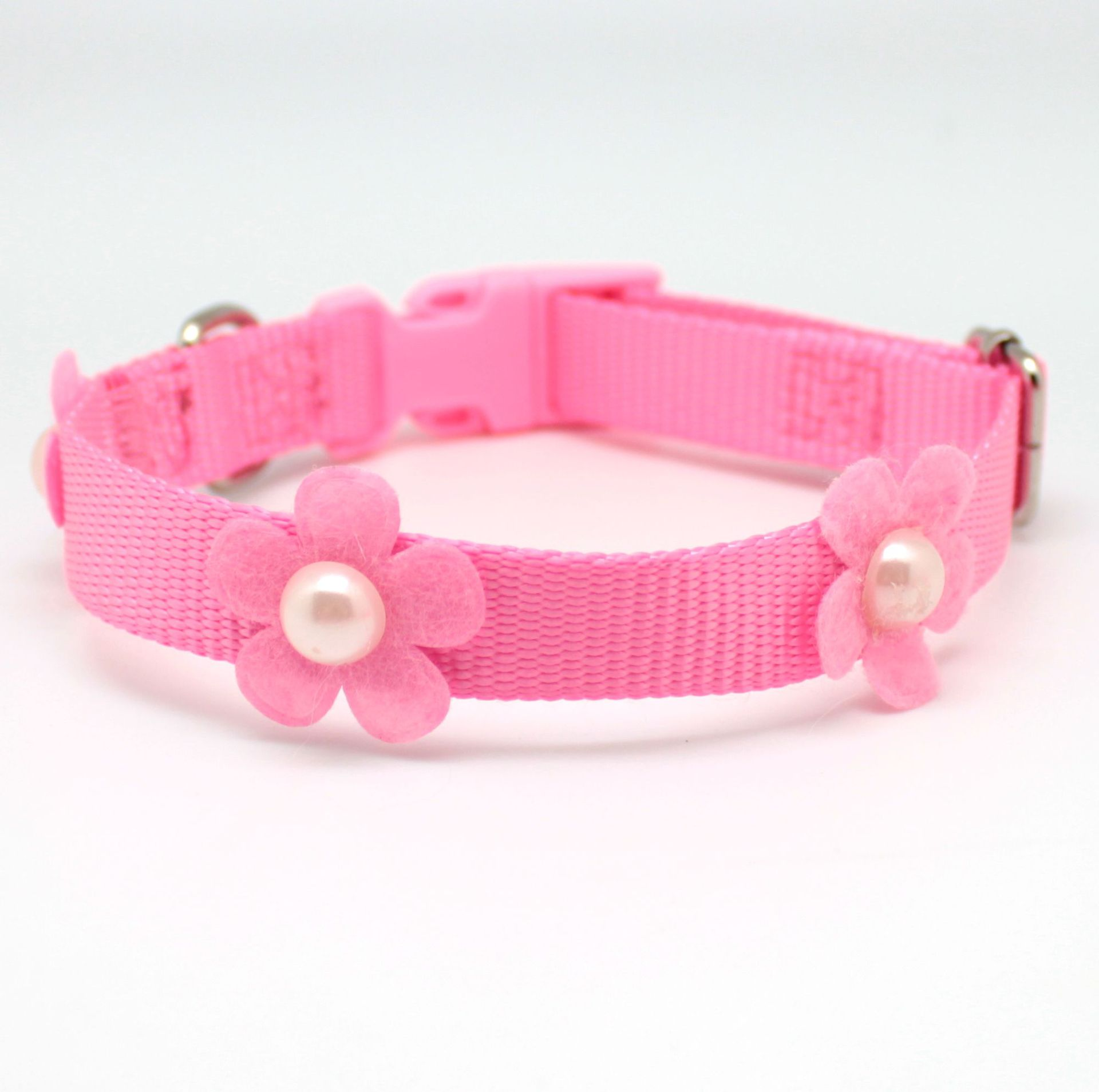 Pet Collar Cute Puppy Neck Ring Dog Neck Ring Nylon Collar Pink Neck Ring Flower Beads Neck Ring