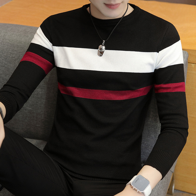 2021 Autumn Men's Stripes Sweater Youth round Neck Thin Cotton Knitwear 3
