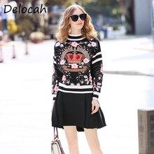 Delocah 滑走路ファッション秋冬ウールのセーターの女性の長袖クラウン刺繍ヴィンテージ女性ニットプルオーバーセーター