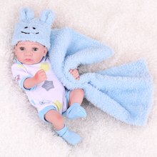 NPKDOLL boneca reborn doll toys Mini Blue Boy Full Vinyl Sil