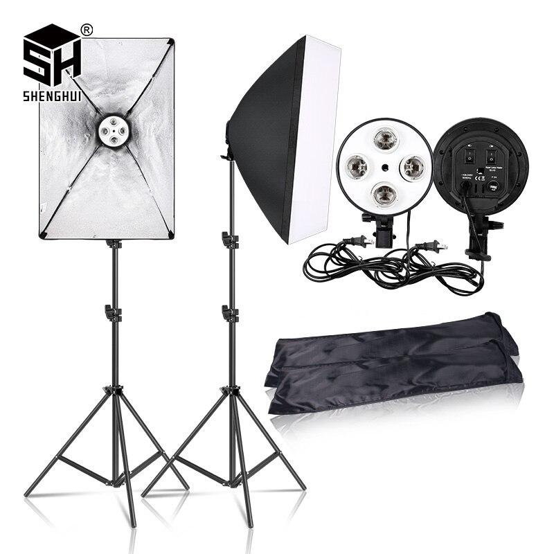 Фотография 50x70 см освещение четыре софтбокс для вспышки комплект с E27 база держатель Мягкая коробка камера аксессуары для фото для студийно...