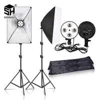 Fotografia 50x70CM Illuminazione A Quattro Lampada Softbox Kit Con Supporto di Base di E27 Soft Box Accessori Della Fotocamera Per Foto studio Vedio
