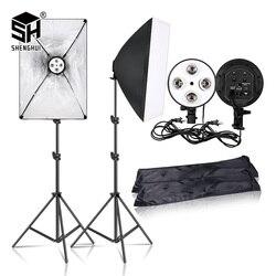 Fotografia 50x70CM Iluminação Quatro Lâmpada Softbox Kit Com E27 Base Titular Câmera De Caixa Suave Acessórios Para A Foto estúdio Vedio