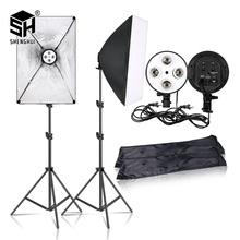 Photography 50x70CM Lighting Four Lamp Softbox Kit With E27 Base Holder Soft Box Camera Accessories For Photo Studio Vedio cheap SH-RGX-02-05 Polyethylene high reflector particle Rectangle 4 7KG 70-200CM Height Max 2KG EU plug US plug Uk plug AU plug