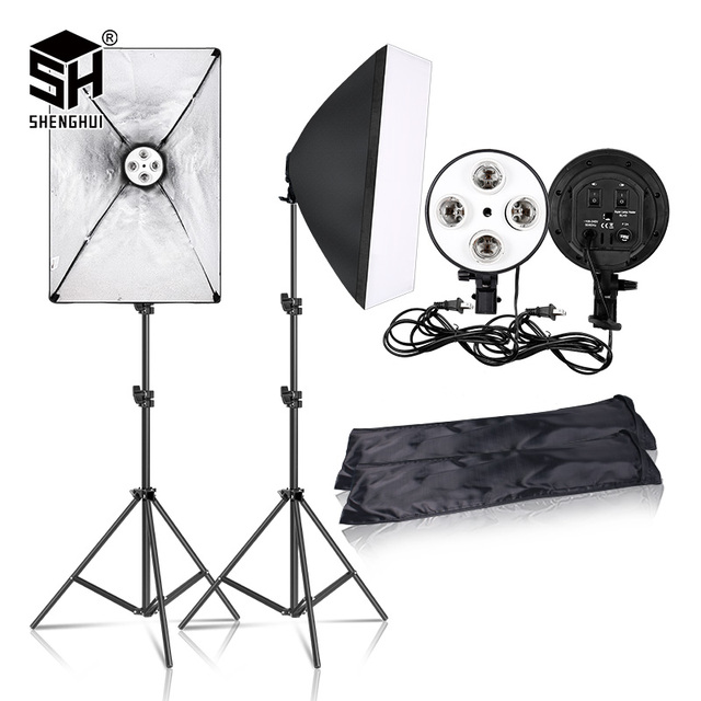$ US $51.44 Photography 50x70CM Lighting  Four Lamp Softbox Kit With E27 Base Holder Soft Box Camera Accessories For Photo Studio Vedio