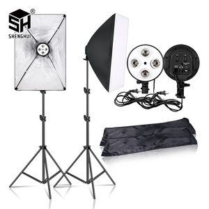 Photography 50x70CM Lighting Four Lamp Softbox Kit With E27 Base Holder Soft Box Camera Accessories For Photo Studio Vedio(China)