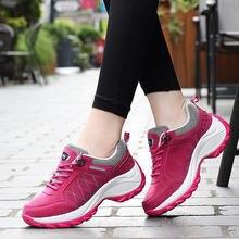 Tênis femininos sapatos 2021 plataforma de renda sólida sapatos casuais mulher respirável malha esportiva cunha sapatos femininos tênis