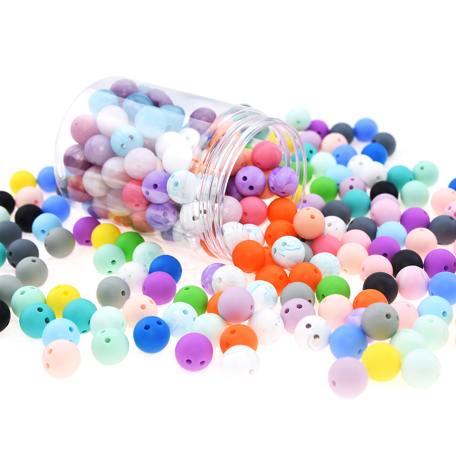 Happyfriends 20 pcs lot 15mm Double Hole Silicone Round Beads Baby Chewing Food Grade Teething Accessories Teethers Jewelry in Baby Teethers from Mother Kids
