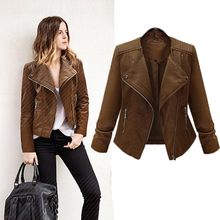 Genuine Leather Jaket Women Fashion Wome Zipper Leather Zip-up Vintage Slim Lady Coat Motorcycle Girls Jackets Coats Veste Femme(China)