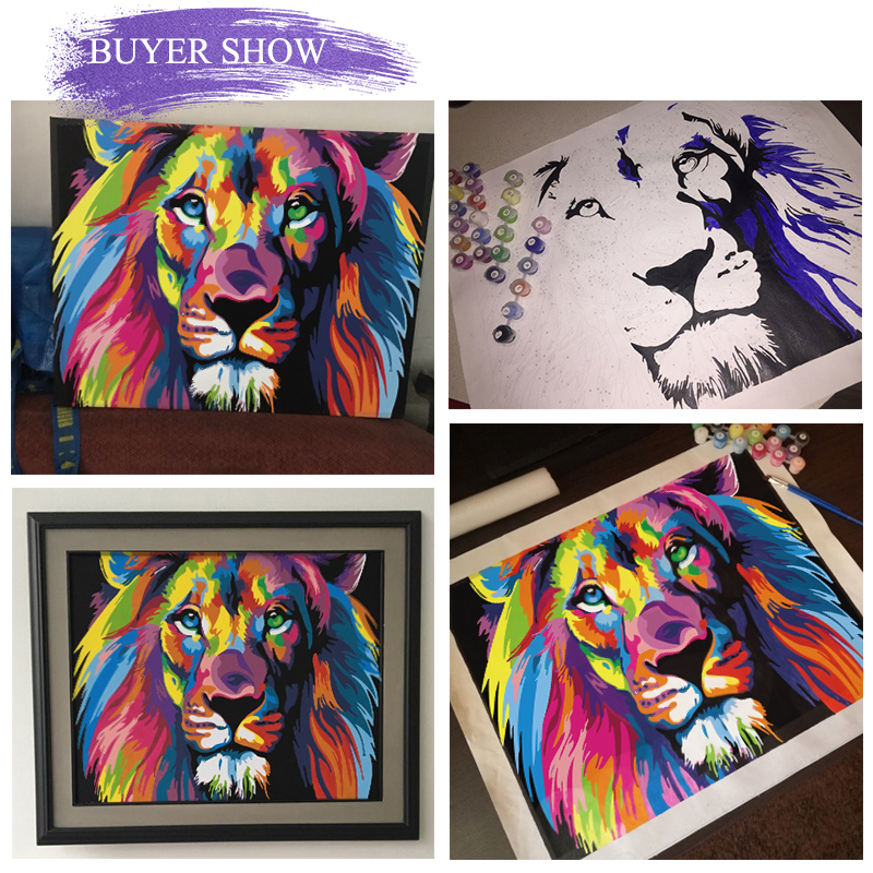 He9a59368114c45cba9f5eb1d5da3b95c6 SDOYUNO 60x75cm Frame DIY Painting By Numbers Kits Colorful Lions Animals Hand Painted Oil Paint By Numbers For Home Decor Art