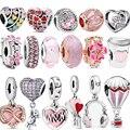 Romantische 100% Echt 925 Sterling Silber Rosa Herz Blume Unendliche Liebe Charme Charms Fit Ursprüngliche Pandora Armband Geschenk Mädchen