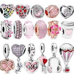 Romantic 100% Real 925 Sterling Silver Pink Heart Flower Infinite Love Charm Charms Fit Original Pandora Bracelet Gift Girl