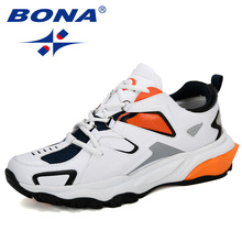 BONA หนัง Action รองเท้าวิ่งกลางแจ้งชายภูเขากีฬารองเท้าลื่นขนาดใหญ่รองเท้าผ้าใบลำลองอินเทรนด์