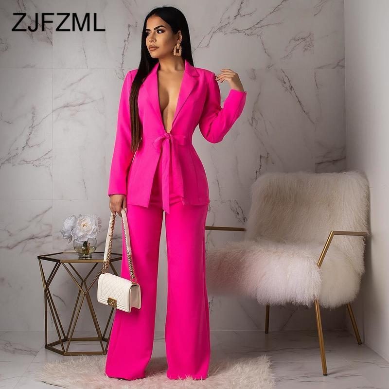Sexy Lace Up Two Piece Set Tracksuits Women Set Notched Long Sleeve Long Blazer And High Waist Wide Leg Pants Sexy Club Outfits