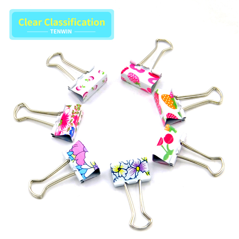 Tenwin12/24PCS Paper 19 25 32 Mm Foldback Metal Binder Clips Colors Grip Clamps Office School Stationery Paper Document Clips