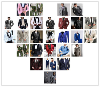 Best Selling Custom Made Formal Groom Wear Red White Black Men Wedding Suits Prom Tuxedo Men Suits 3 Piece Jacket Pants Vest New Outfitters