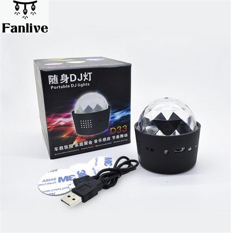 10 stücke USB Ladung Disco Ball Lichter Voice Control LED Party Licht Mini Tragbare RGB DJ Bühne Licht