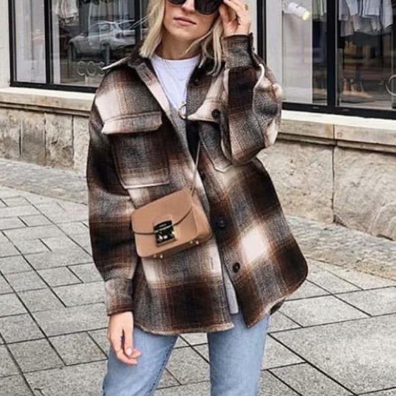 He9a5e45d61504e63a796ee862d9900a7O Vintage women 2019 long sleeve woolen coats fashion ladies thick plaid coat female streetwear elegant girls oversize jacket chic