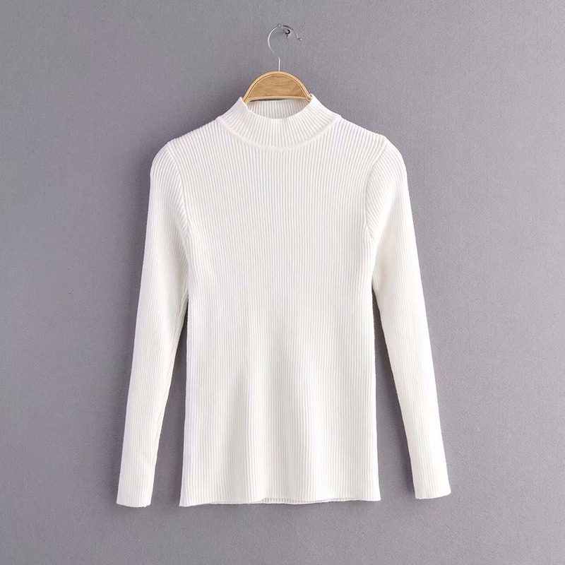 Simple High Neck Pit Strip Fashion Sweater Female Solid Color Ribbed Slim Bottoming Knitted Pullover Jumpers Women Spring