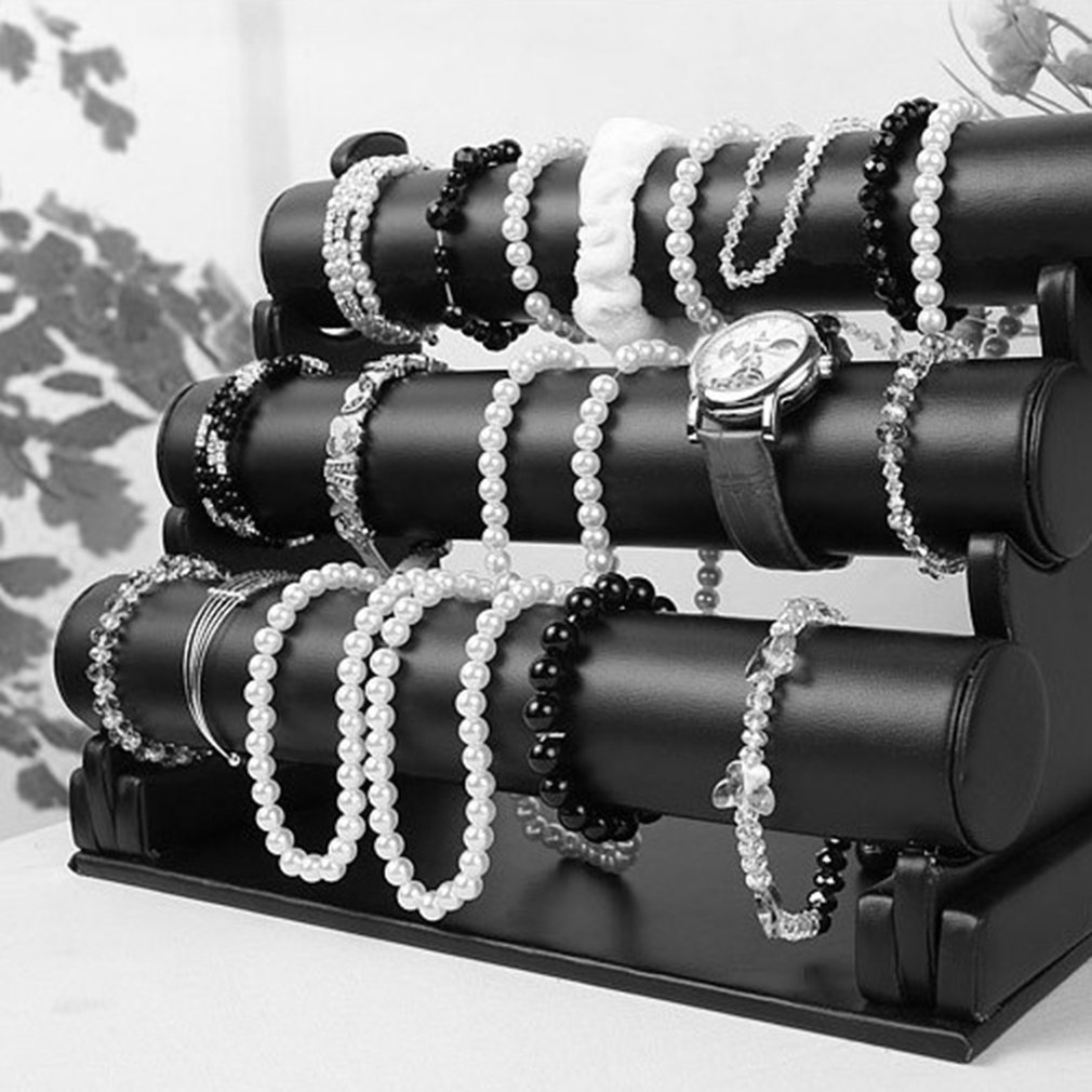 3 Layers Vilvet/PU Leather Watch Holder Women Desktop Bracelet Chain Watch Bangle Jewelry Show Rack Stand Display Container
