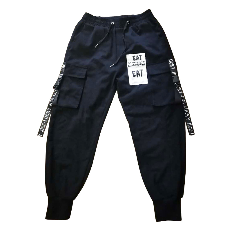 2020 HOT Ribbons Printed Street  Fashion Mens Joggers Cargo Pants Hip Hop Printed Casual Pencil Trousers Streetwear