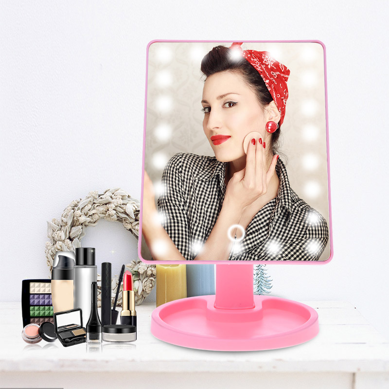 Illuminated Mirror LED Light Cosmetic Vanity Makeup Mirror 22 LED Lamps Eyelash Extension Mirror Desktop Mirror Portable Mirror