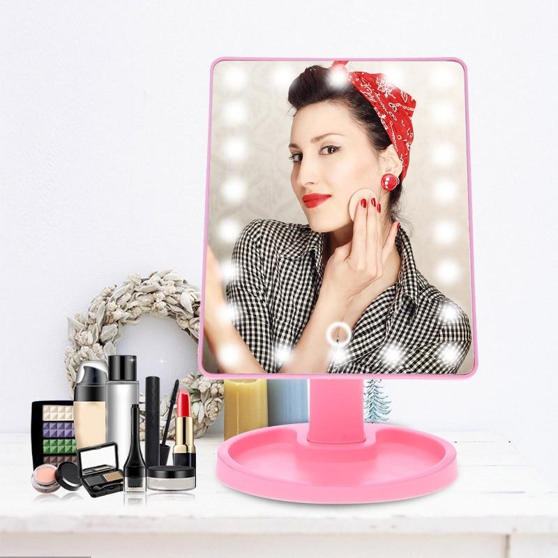 Illuminated Mirror LED Light Cosmetic Vanity Makeup Mirror 22 LED Lamps Eyelash Extension Mirror Desktop Mirror Portable Mirror