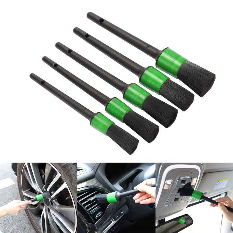 5PCS Car Cleaning Tool Kit Soft Bristle Brush Cleaning Brush Set For Interior Dashboard Wheel Rims Green Car Cleaner Wash