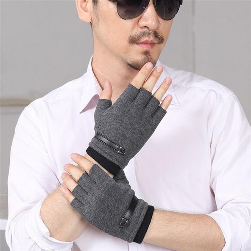 Перчатки без пальцев мужские для вождения, замшевые, кожаные, черные, серые, мужские эластичные уличные велосипедные варежки, зимние теплые перчатки|Мужские перчатки| | АлиЭкспресс