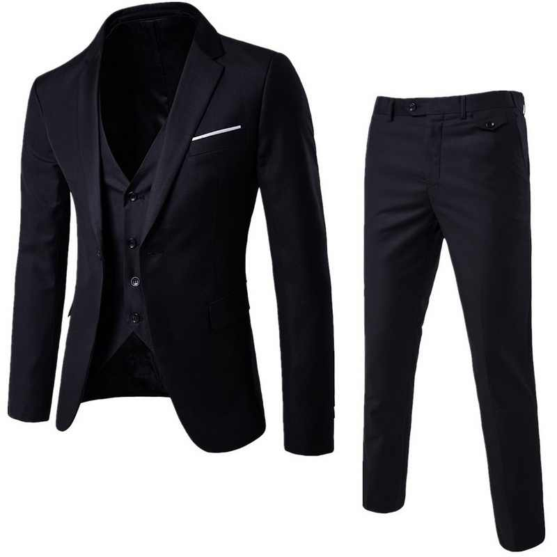 Fashion3 Pieces Business Blazer +Vest +Pants Suit Sets Men Autumn Fashion Solid Slim Wedding Set Vintage Classic Blazers Male