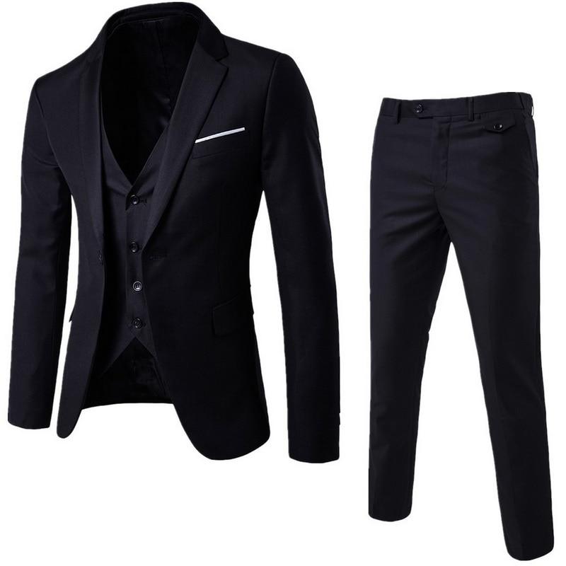 Fashion3 Pieces Business Blazer +Vest +Pants Suit Sets Men Autumn Fashion Solid Slim Wedding Set Vintage Classic Blazers Male