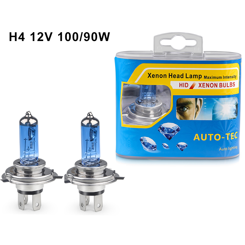 2pcs 6000k Super White Halogen Lamp H4 12V 100/90W High/Low Beam Halogen H4 Car Headlight Lamp Dark Blue Glass Halogen Bulb