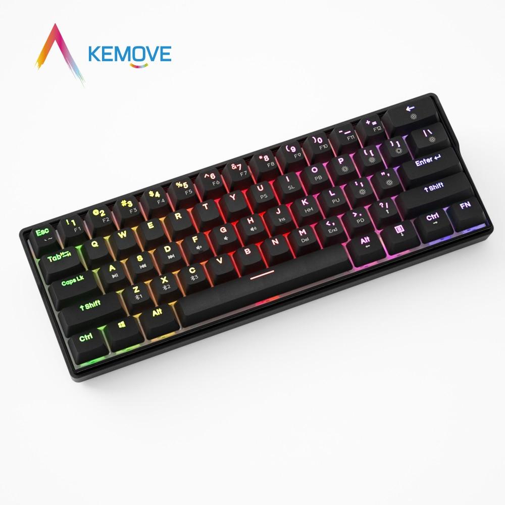 KEMOVE 60% RGB механическая клавиатура с черной подсветкой, игровые клавиатуры 5,1, Bluetooth, USB, горячая замена, 61 Ключ, PBT Keycaps Клавиатуры      АлиЭкспресс