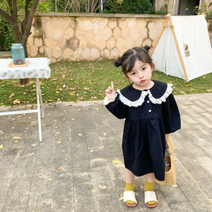 Image 3 - Spring New Arrival korean style cotton long sleeve princess dress with lace collar and sleeve for sweet cute baby girls