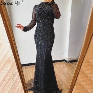 Image 5 - Dubaj luksusowe białe Nude Mermaid suknie wieczorowe 2020 długie rękawy diament frezowanie formalna sukienka Serene Hill LA70274