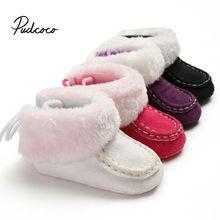 Детские сапоги для новорожденных девочек, кашемировые плюшевые зимние сапоги, мягкие яркие цвета, теплая обувь с завязками