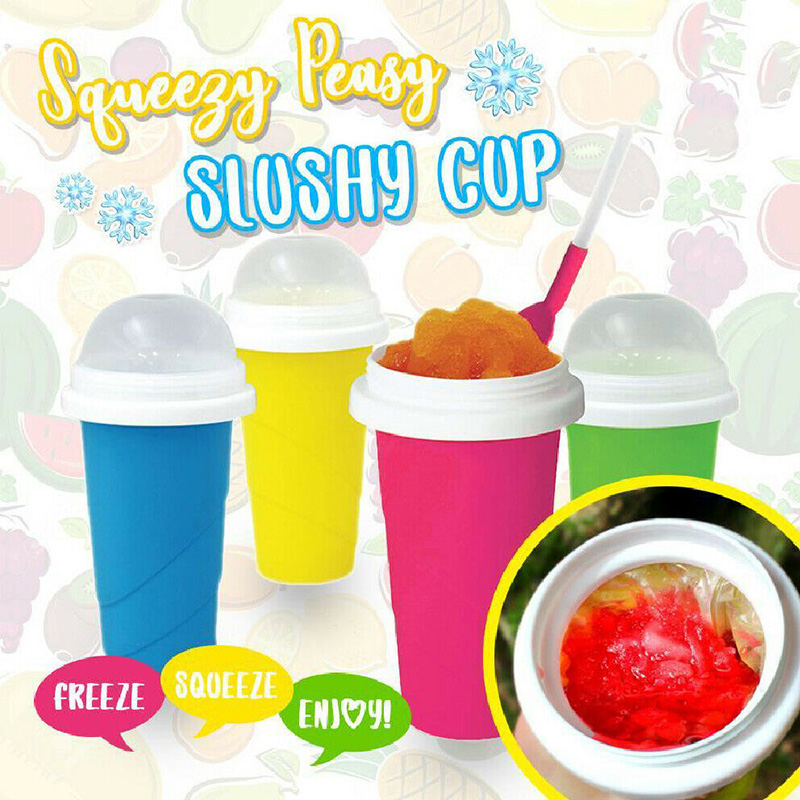 Slushy Ice Cream Maker Squeeze Peasy Slush Quick Cooling Cup Milkshake Bottles Ds99