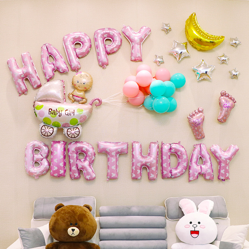 Top Quality 1 Set Baby Party Decorations Set Newborn Baby Boys Girls Birthday Party Baby Gift