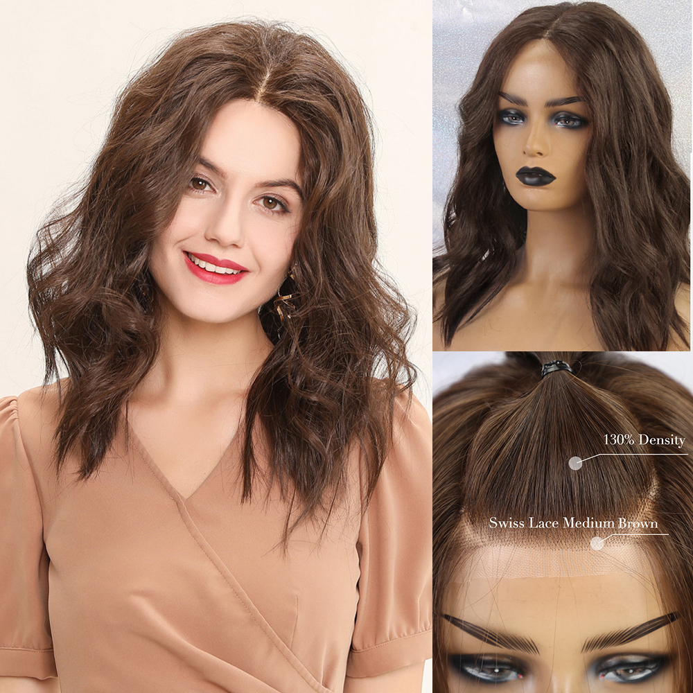BLONDE UNICORN Medium Long Wave Lace Front Hair Wig Brown Blend Human Hair and Synthetic Wigs For Women Daily Use