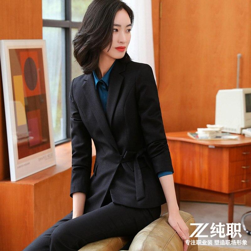 Black Suit Jacket High Quality Elegant Women Business Ladies Wear Full Sleeve Blazer Set Pant Suit Temperament Office Clothes