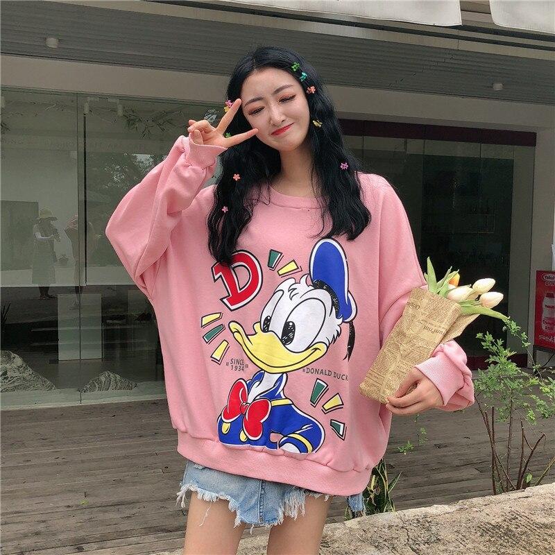 Winter Women Sweatshirts Hoodies Character Printed Casual Pullover Cute Jumpers Top Long Sleeve O-Neck Fleece Tops Donald Duck