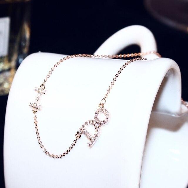 Женское ожерелье с подвеской в виде букв розовое золото цирконием