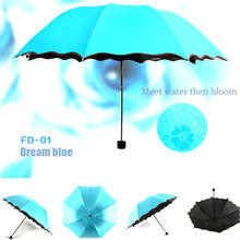 DMBRELLA Travel Umbrellas Sun UV Protection Compact Rain and Wind with Met Water Begin Bloom for Women Girl DM007