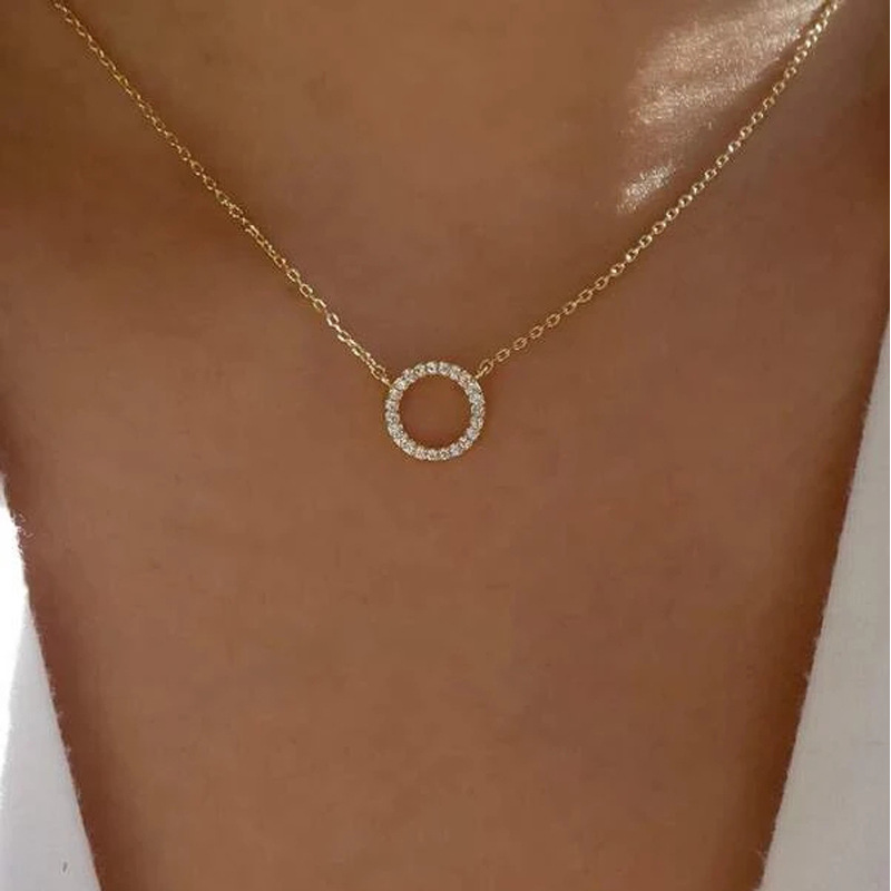 YWZIXLN 2021 тренд элегантные ювелирные изделия с украшением в виде кристаллов круг Золотое Ожерелье Подвеска Цвет Unquie женское модное ожерелье о...
