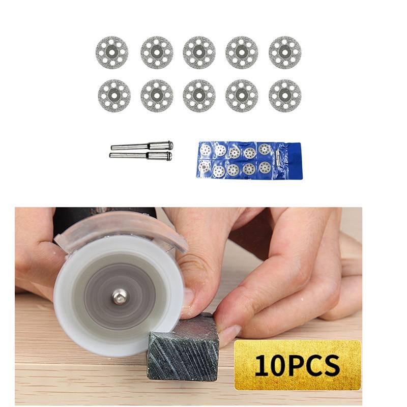 10Pcs/set Dremel Diamond Cutting Disc For Dremel Rotary Tools Accessories With 2 Mandrel
