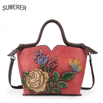 SUWERER 2019 New Women Genuine Leather bag fashion cowhide Embossing bags handbags women famous brands Luxury Genuine Leather