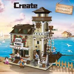 Предпродажа 2020 новый старый Рыболовный магазин лодка Hous Diner создатель города уличный вид модель строительные блоки наборы кирпичей игрушки...