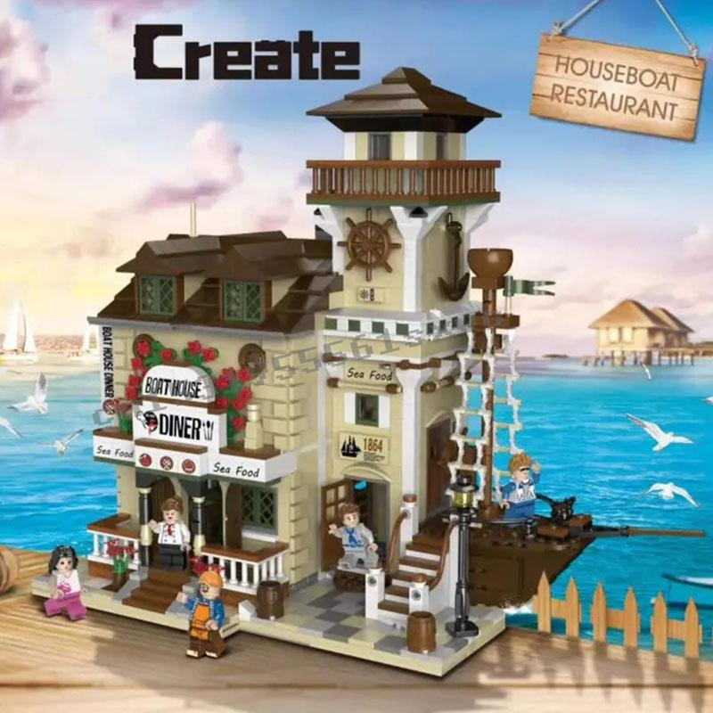 Pre-sale 2020 New The Old Fishing Store Boat Hous Diner City Creator Street View Model Building Blocks Bricks Kits Toys Gifts