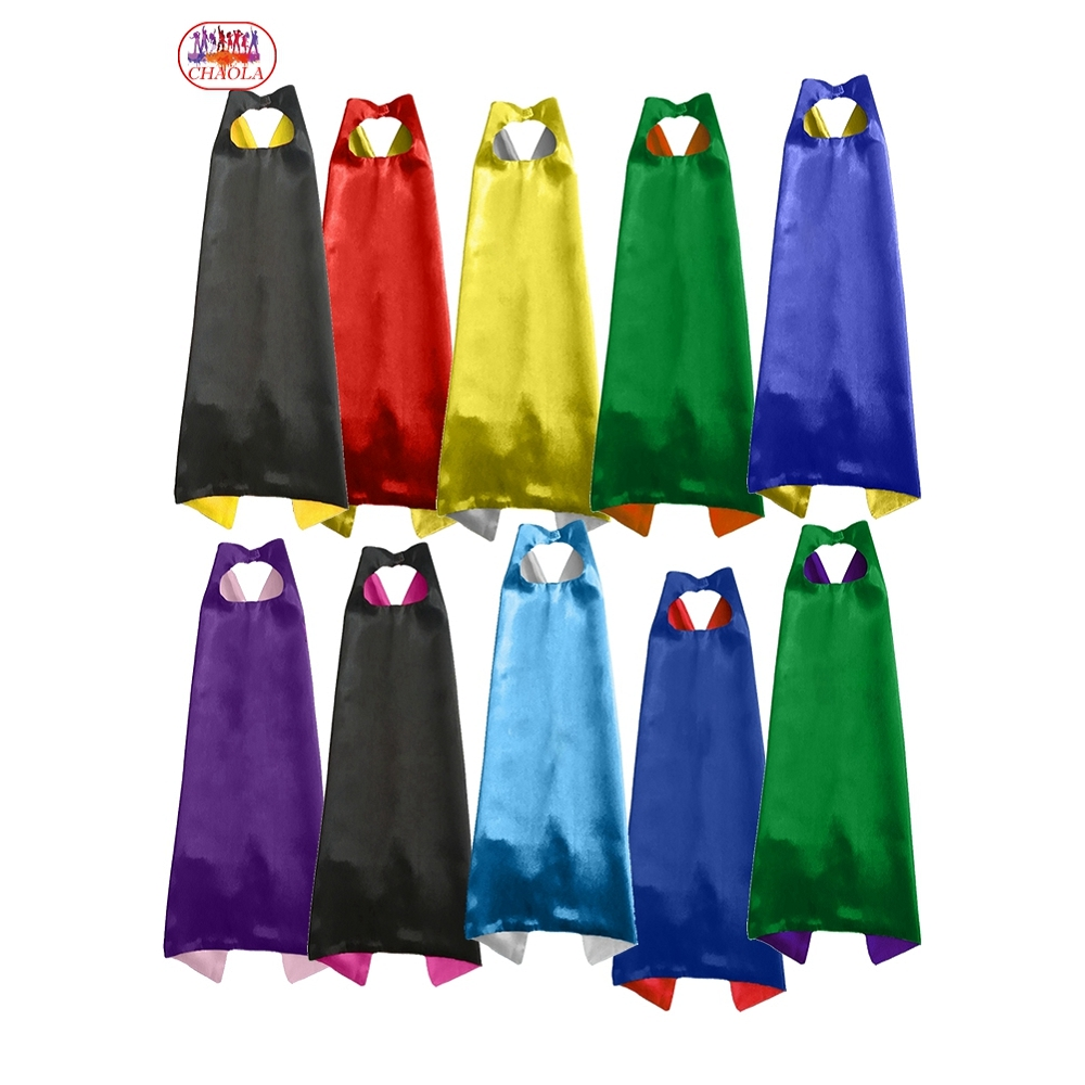 Double Layer Cape And Mask With 2 Different Colors Side 70*70cm Capes For Kids Christmas Halloween Cosplay Custom Clothing